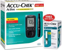 Accu Chek Active Blood Glucometer Kit (Box of 10 Test strips Free)