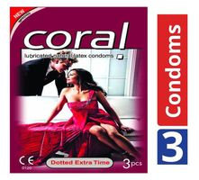 Coral Condom Dotted Extra Time